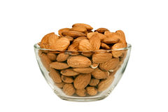 Almonds in a glass bowl Royalty Free Stock Image