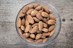 Almonds in a glass bowl Royalty Free Stock Images