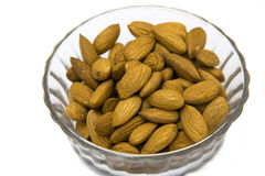 Almonds in Glass Cup Stock Photo