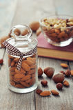 Almonds in glass jar Royalty Free Stock Images