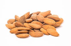 Almonds. Golden almonds isolated on white background stock photography