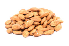 Almonds. Golden almonds isolated on white background stock image