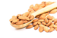 Almonds. Golden almonds isolated on white background stock photos