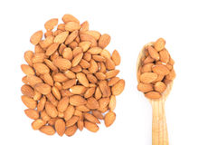 Almonds. Golden almonds isolated on white background royalty free stock image