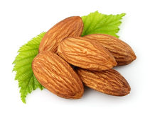 Almonds with green leaves Royalty Free Stock Image