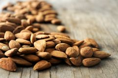 Almonds group closeup view snack time Stock Images