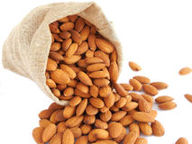Almonds. In a gunny bag Stock Images
