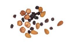 Almonds, hazelnut and raisins Royalty Free Stock Photography