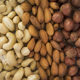 Almonds, hazelnuts, cashews nuts mixed together Royalty Free Stock Images