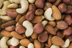 Almonds, hazelnuts, cashews nuts mixed together Stock Photography