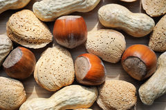 Almonds, hazelnuts and peanuts close Stock Images