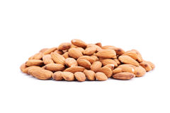 Almonds. Heap of almonds isolated on white background Royalty Free Stock Photo