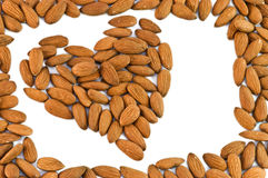 Almonds heart framed Royalty Free Stock Images
