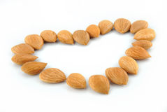 Almonds Heart shape Stock Photography