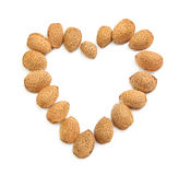 Almonds heart-shape Stock Photo