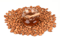 Almonds and honey spa with natural ingredients. Stock Photos