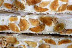 Almonds and honey sweet nougat from spain Stock Photo