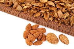 Almonds  with hulls Royalty Free Stock Photography