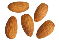 Almonds, isolated. Almonds on white background, close up, isolated stock photos