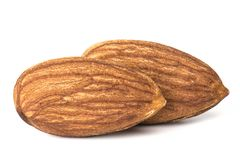 Almonds isolated. Closeup a group of almonds, isolated on the white background stock images