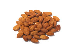 Almonds Isolated on White. A photo of almond nuts isolated on a white background Royalty Free Stock Images