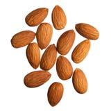 Almonds isolated on white Stock Photos
