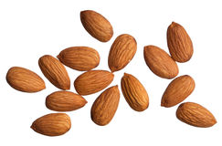 Almonds isolated on white Royalty Free Stock Photos