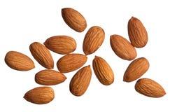 Almonds isolated on white royalty free stock photos