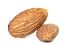 Almonds isolated. On white background stock photography