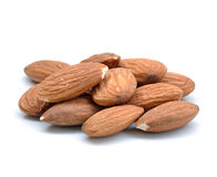 Almonds. Isolated on the white background Royalty Free Stock Photography