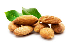 Almonds isolated on the white background Stock Photos