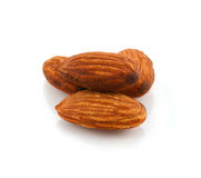 Almonds isolated on white background Royalty Free Stock Photos