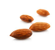 Almonds isolated on white background Royalty Free Stock Image