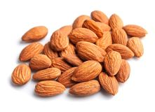 Almonds isolated . Stock Photography
