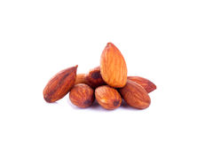 Almonds isolated on the white background Royalty Free Stock Images