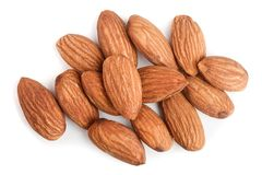 Almonds isolated on white background close up. Top view stock photo