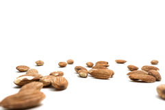 Almonds isolated on white background. Royalty Free Stock Photo
