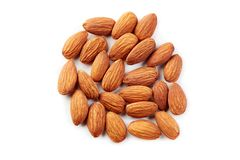 Almonds kernel. Isolated on white background. Top view stock image