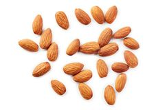 Almonds kernel. Isolated on white background. Top view stock photo