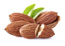Almonds kernel with leaves Royalty Free Stock Images