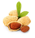 Almonds with kernels  on white. Background Stock Photos