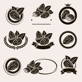 Almonds labels and elements set. Vector Stock Photos