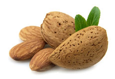 Almonds with a leaf Royalty Free Stock Photos