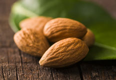 Almonds with leaf Stock Photo