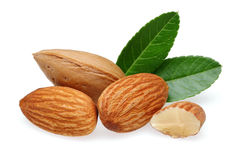 Almonds and leaves Royalty Free Stock Photo