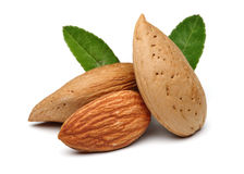 Almonds and leaves Stock Photos