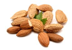 Almonds with leaves Stock Photography