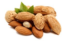 Almonds with leaves. Isolated. Snack, kernel Stock Images