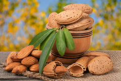 Almonds with leaves in a bowl on the old wooden board  blurred garden background Stock Photos
