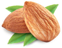 Almonds with leaves isolated. Almonds with leaves isolated on white background. Image with maximum sharpness. Clipping path stock photo